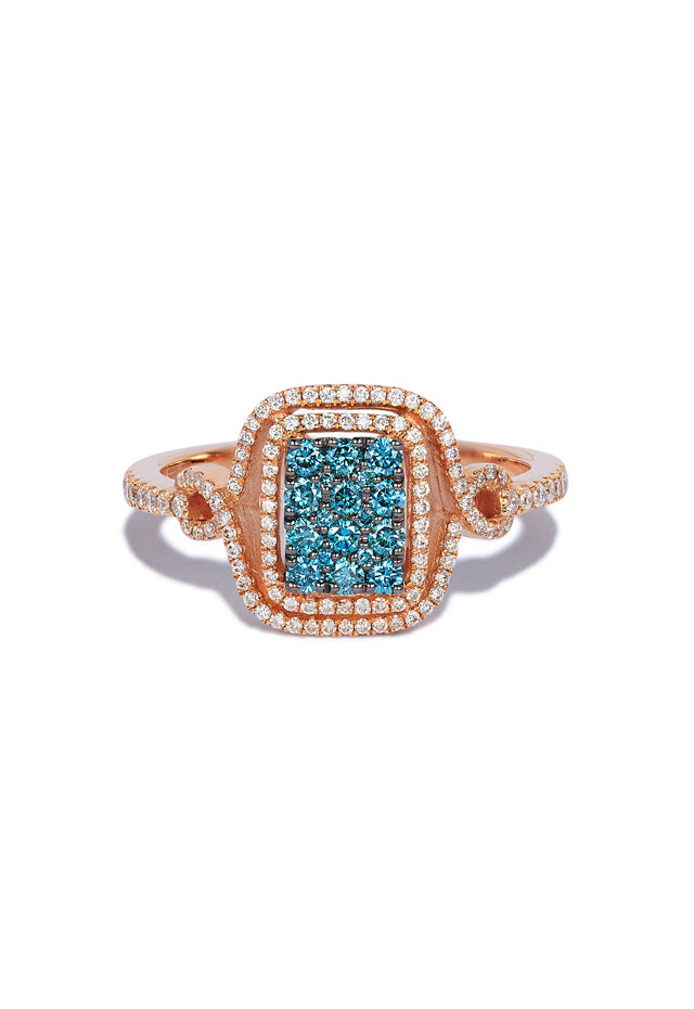 Effy Bella Bleu 14K Rose Gold Blue and White Diamond Ring, 0.52 TCW