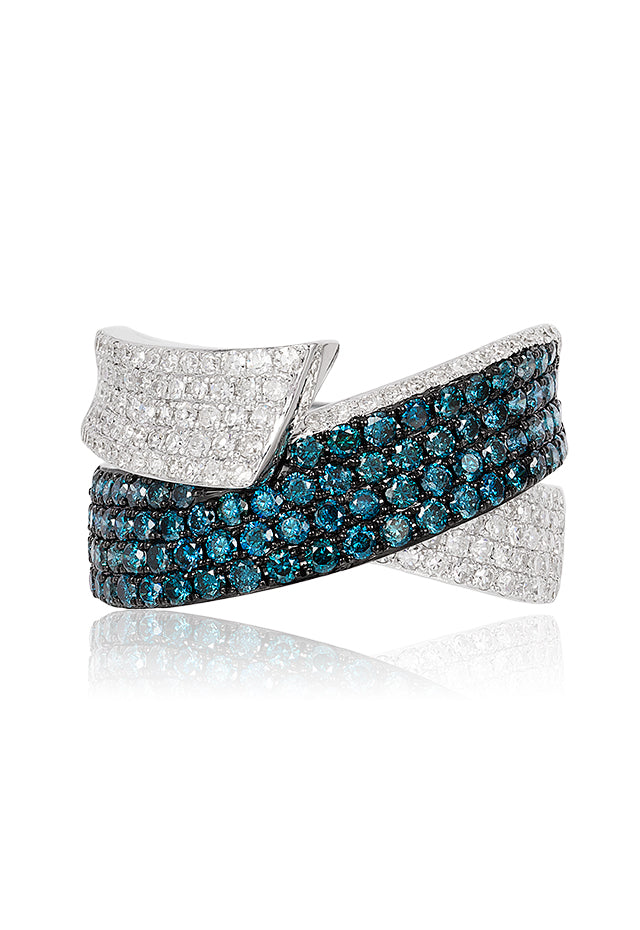 Effy Bella Bleu 14K White Gold Blue and White Diamond Ring, 1.36 TCW