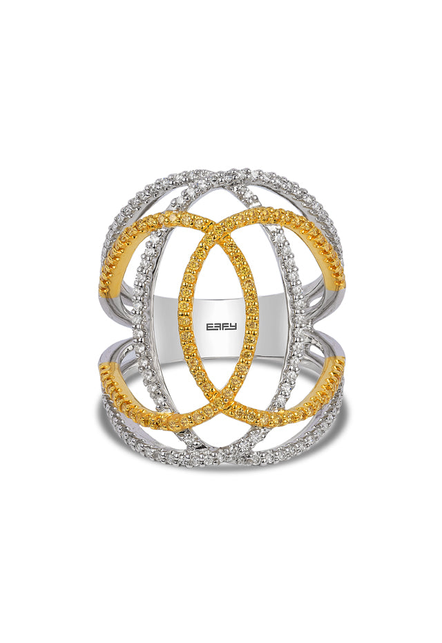 Effy Canare 14K 2-Tone Gold Yellow and White Diamond Ring, 0.73 TCW