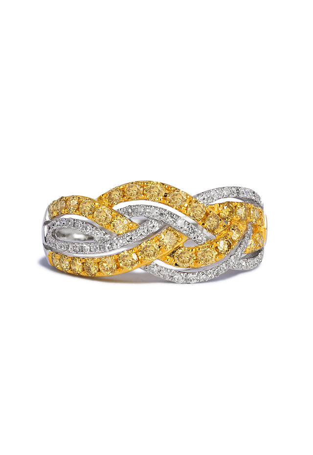 Effy Canare 14K 2-Tone Gold Yellow and White Diamond Ring, 0.95 TCW