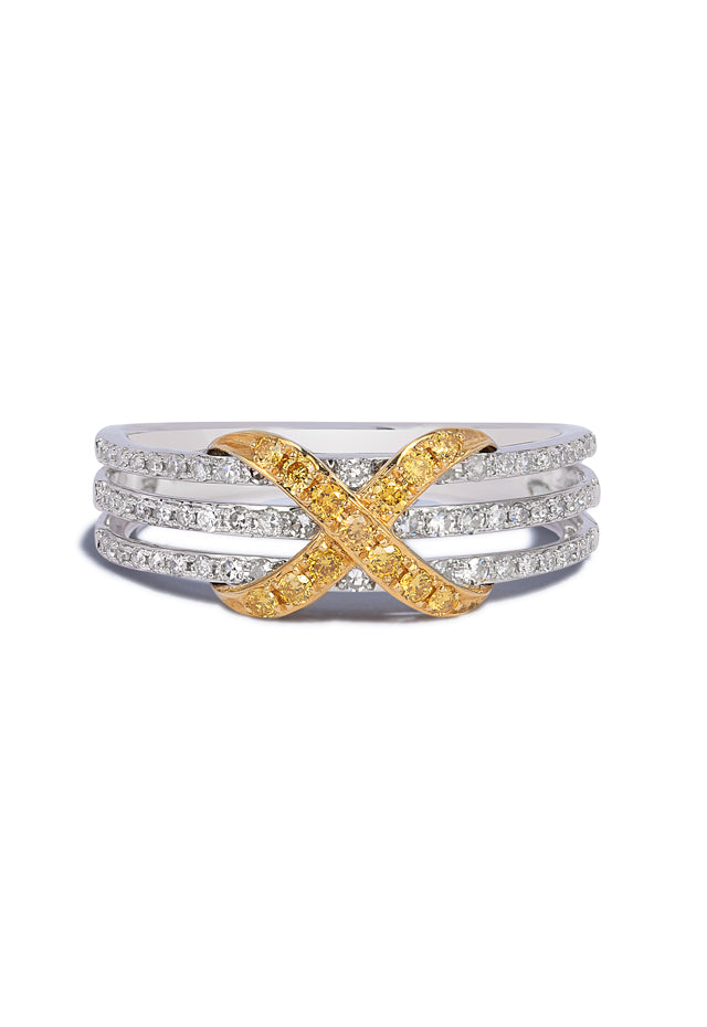 Effy Canare 14K 2-Tone Gold Yellow and White Diamond Ring, 0.35 TCW