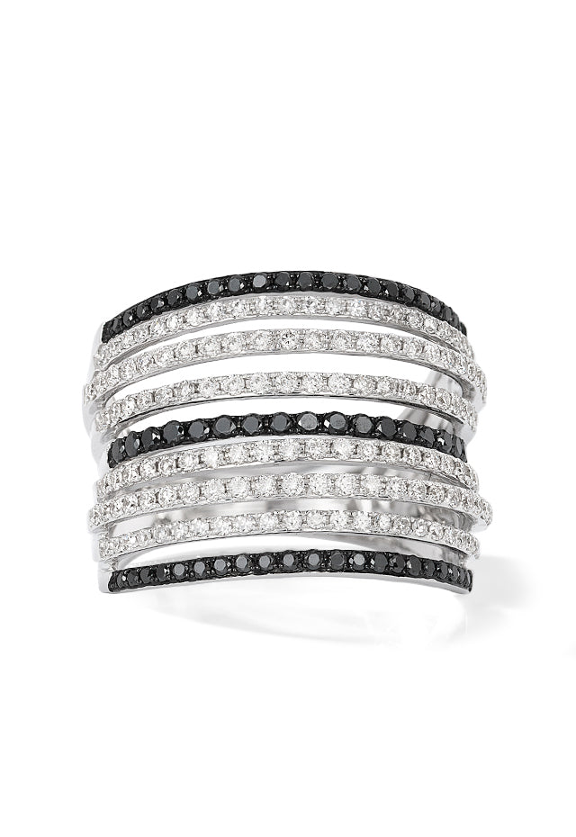 Effy 14K White Gold Black and White Diamond Ring, 1.21 TCW