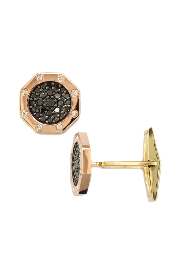 Effy Men's 14K Two-Tone Gold Black and White Diamond Cuff Links, 1.18 TCW