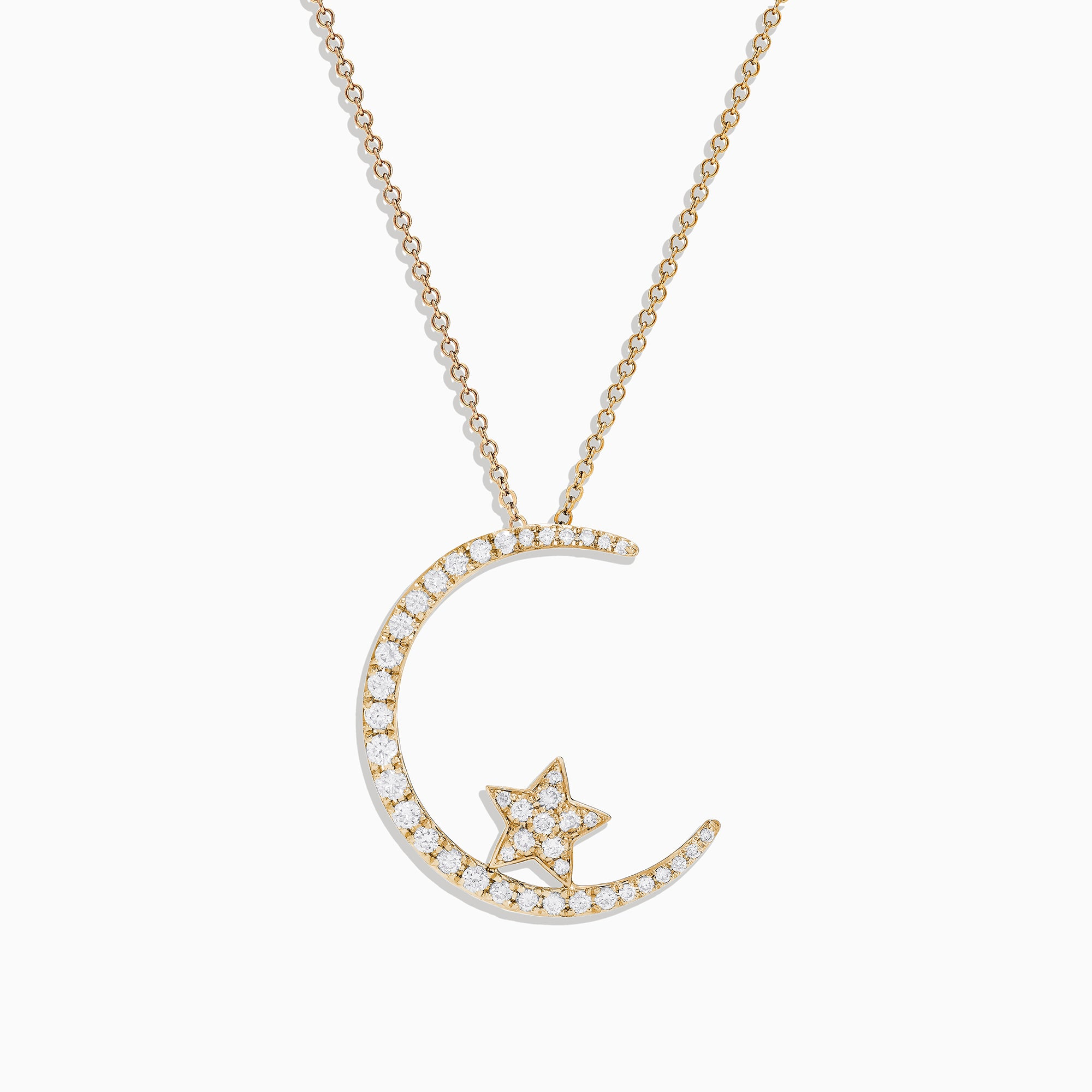 Effy Novelty 14K Yellow Gold Star and Crescent Diamond Pendant, 0.50 TCW