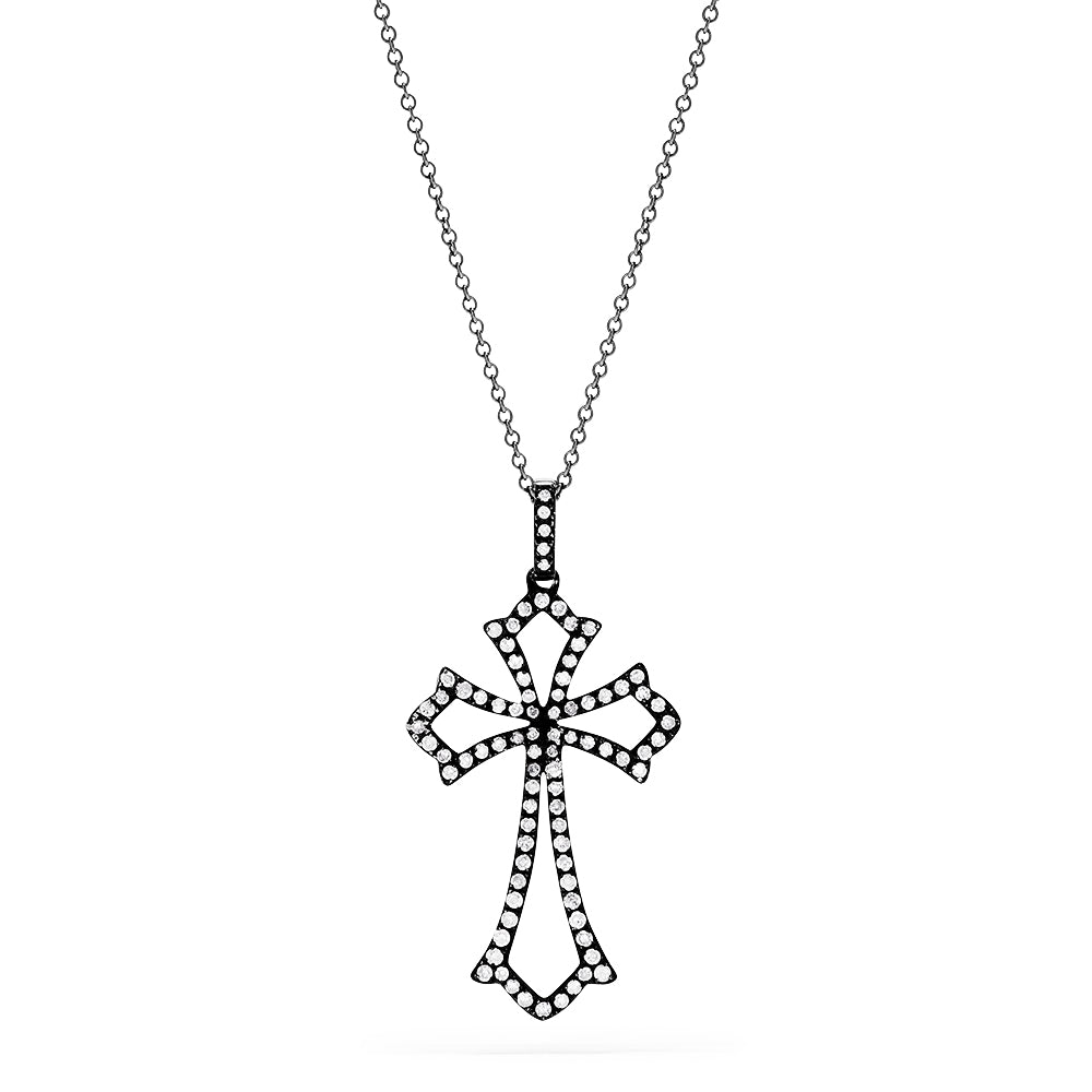 Effy 14K White Gold and Diamond Cross Pendant, 0.37 TCW