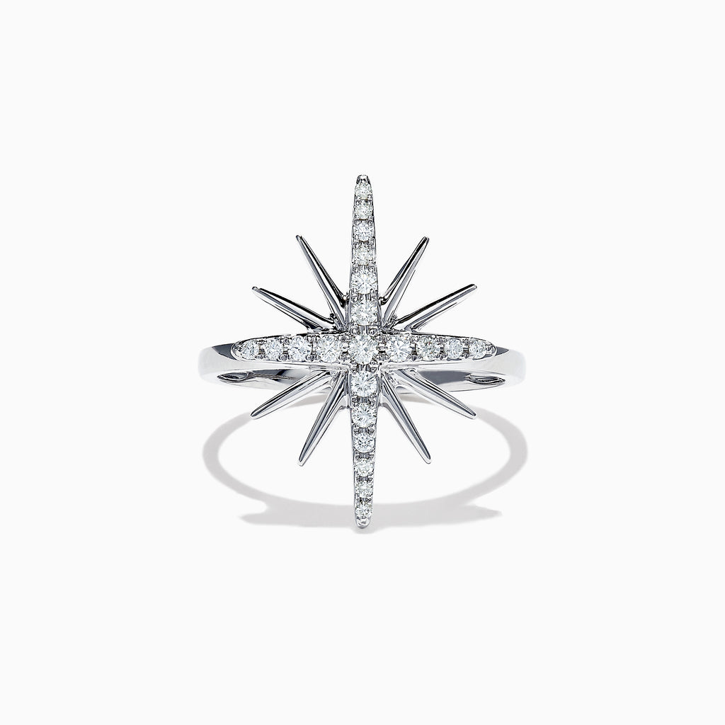 Effy Pave Classica 14K White Gold Diamond Star Ring, 0.26 TCW