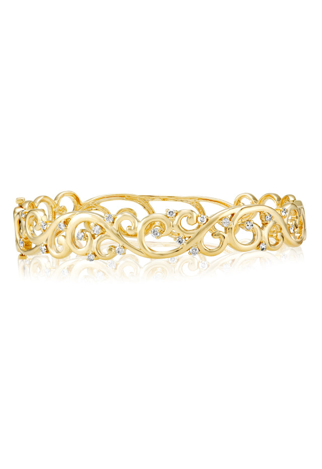 Effy D'Oro 14K Yellow Gold Diamond Filigree Bangle, 0.62 TCW