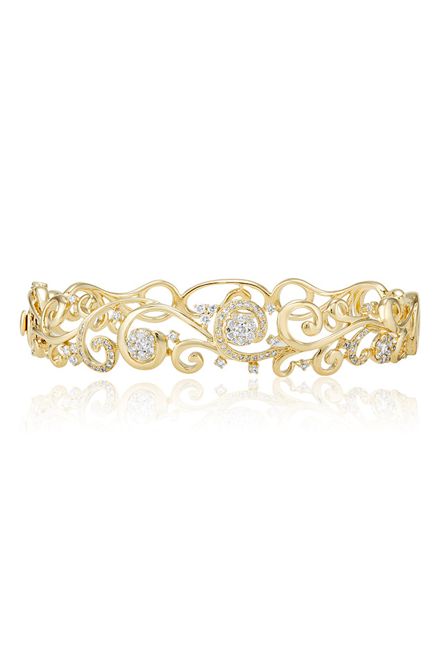 Effy D'Oro 14K Yellow Gold Diamond Filigree Bangle, 0.89 TCW