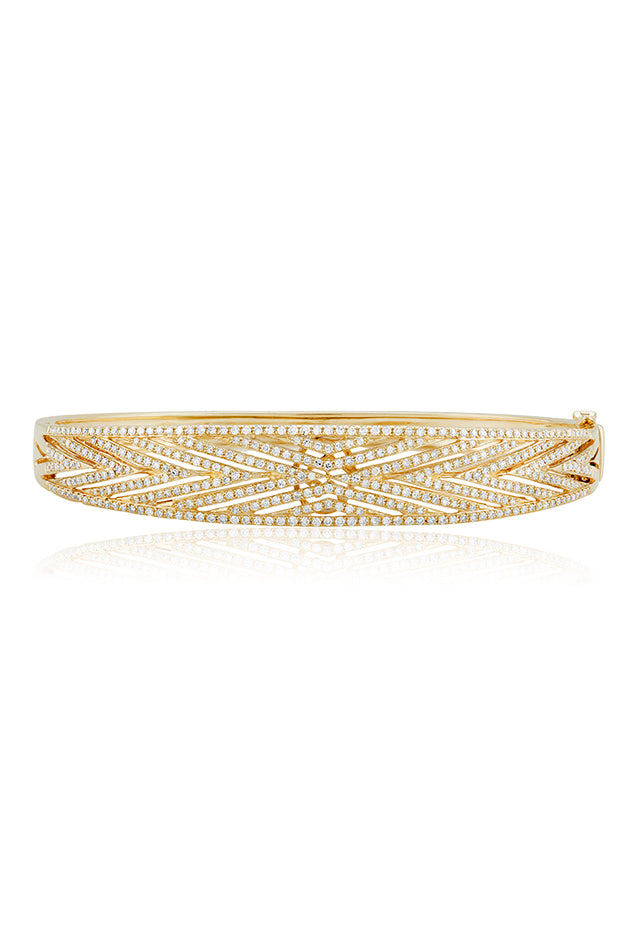 Effy D'Oro 14K Yellow Gold Diamond V Maze Bangle, 1.49 TCW
