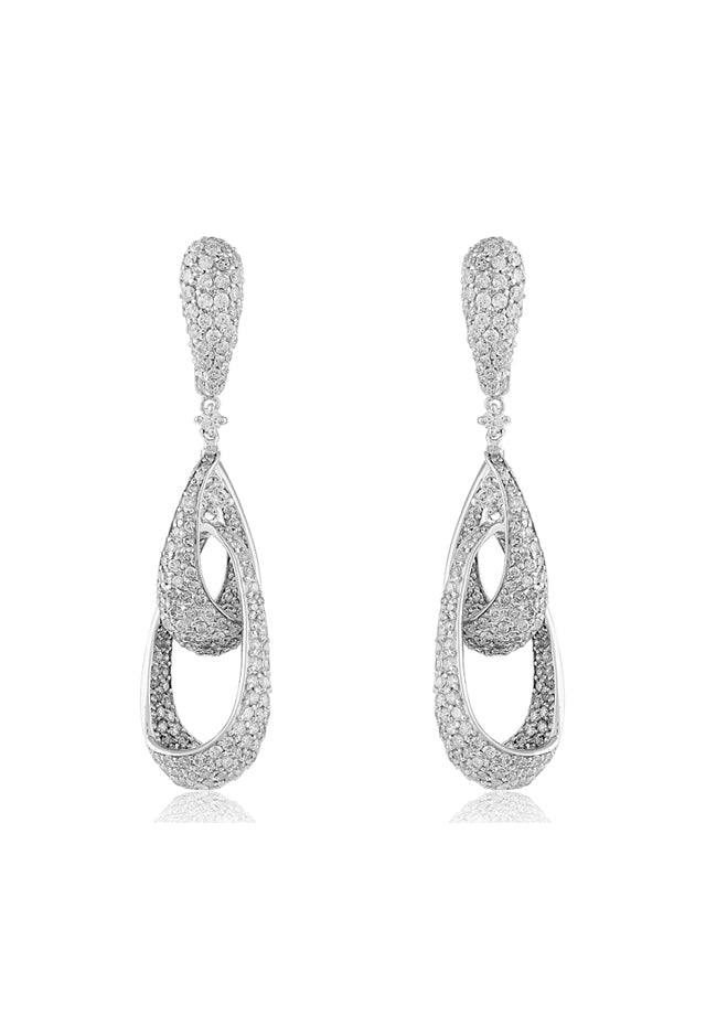 Effy Pave Classica 14K White Gold Diamond Earrings, 4.60 TCW