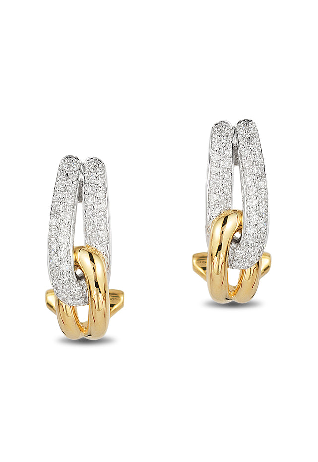Effy Duo 14K Yellow and White Gold Diamond Earrings, 0.31 TCW