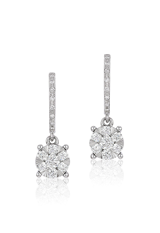Effy Bouquet 14K White Gold Diamond Cluster Drop Earrings, 0.50 TCW