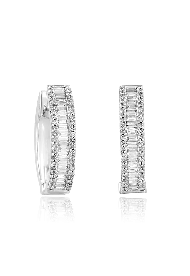 Effy Classique 14K White Gold Diamond Huggie Hoop Earrings, 0.94 TCW
