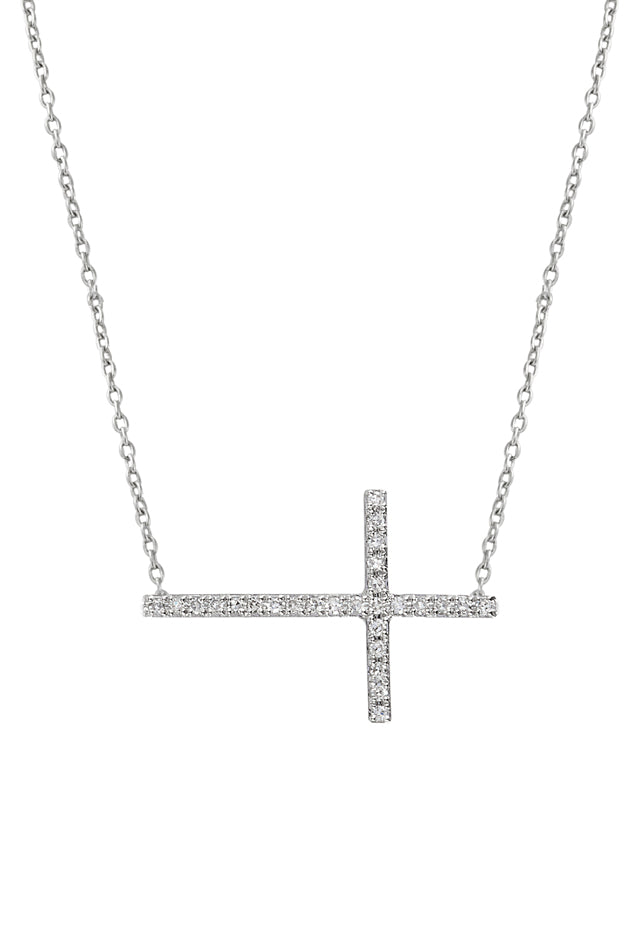 Effy Novelty 14K White Gold Diamond Cross Necklace, .09 TCW