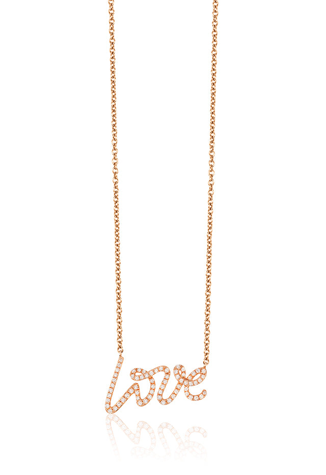 Effy Novelty 14K Rose Gold Diamond Love Pendant, 0.26 TCW