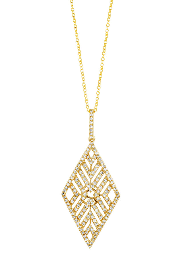 Effy D'Oro 14K Yellow Gold Diamond V Maze Pendant, 0.62 TCW