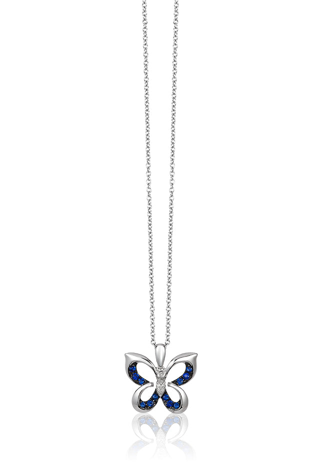 Effy Novelty 14K White Gold Sapphire & Diamond Butterfly Pendant, 0.21 TCW