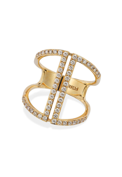 D'Oro 14K Yellow Gold Diamond Ring, .60 TCW