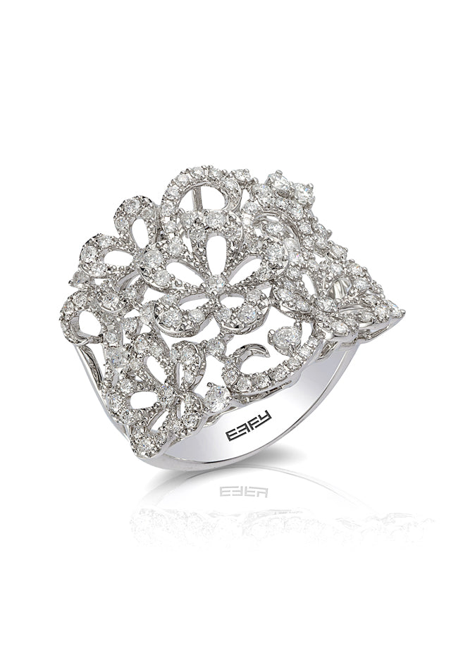 Pave Classica 14K White Gold Diamond Ring, 1.09 TCW
