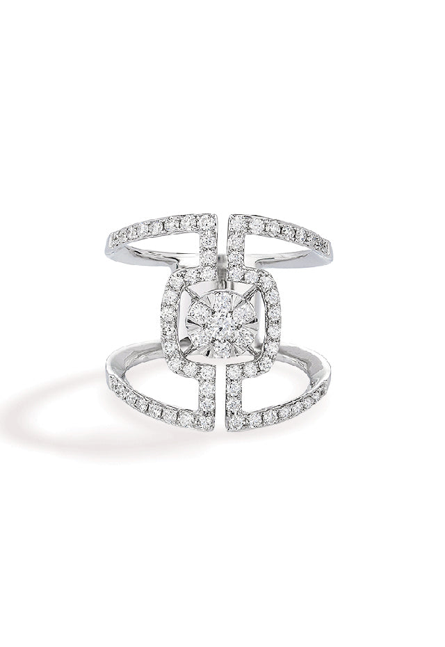 Effy Pave Classica 14K White Gold Diamond Negative Space Ring, 0.90 TCW