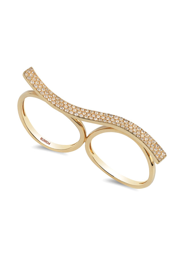 D'Oro 14K Yellow Gold Double Finger Diamond Ring