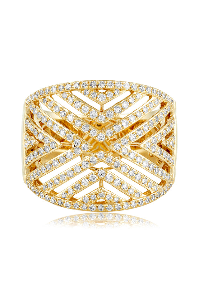 Effy D'Oro 14K Yellow Gold Diamond V Maze Ring, 0.82 TCW