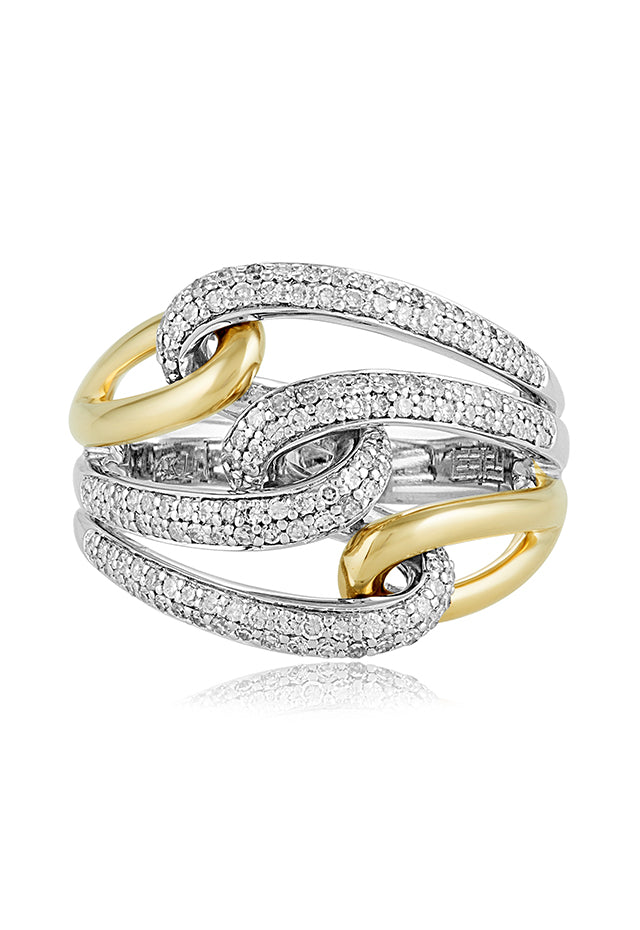 Effy Duo 14K Yellow and White Gold Diamond Ring, 0.55 TCW