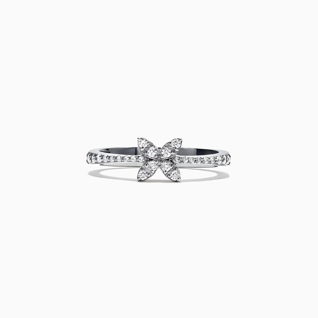 Effy Pave Classica 14K White Gold Diamond Butterfly Ring, 0.23 TCW