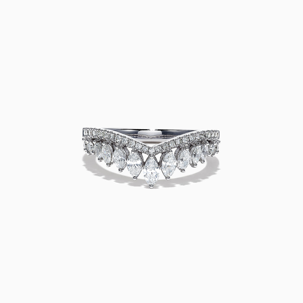 Effy Classique 14K White Gold Diamond Crown Ring, 0.77 TCW