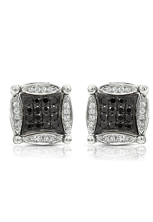 Diversa 14K White Gold Black and White Diamond Earrings