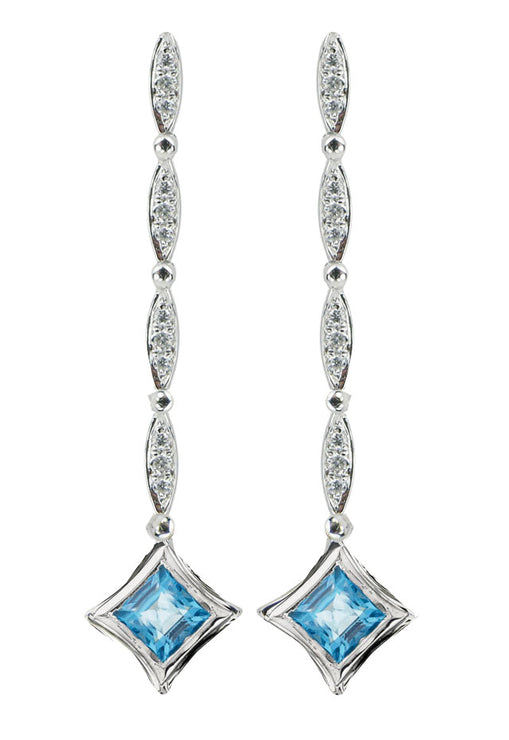 Diversa Sterling Silver Blue Topaz and Diamond Earrings