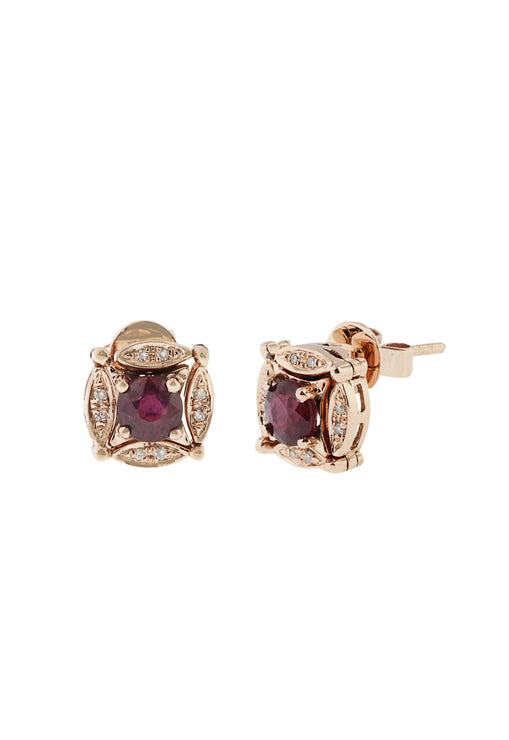 Diversa 14K Rose Gold Ruby and Diamond Earrings