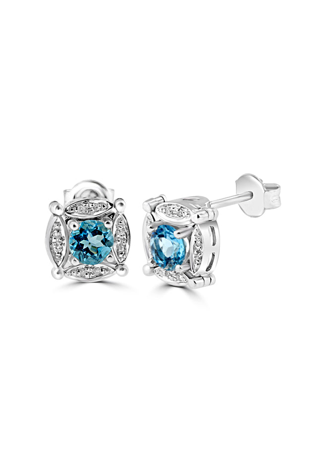 Effy Diversa Sterling Silver Blue Topaz & Diamond 2-Way Earrings, 1.33 TCW