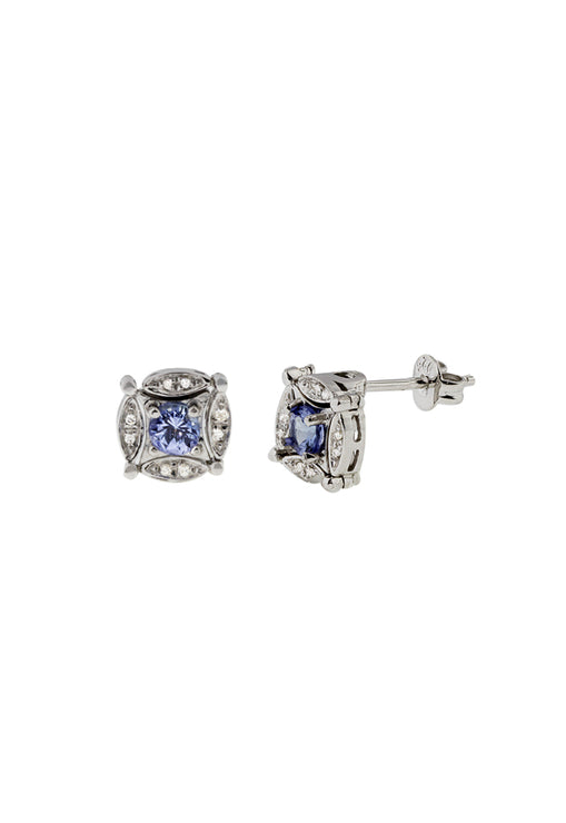 Diversa Sterling Silver Tanzanite and Diamond Earrings, 0.96 TCW