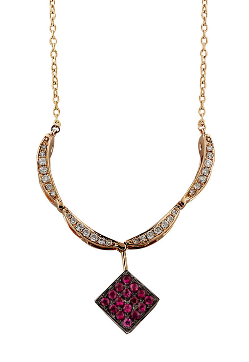 Diversa Rose Gold Ruby and Diamond 4-Way Pendant