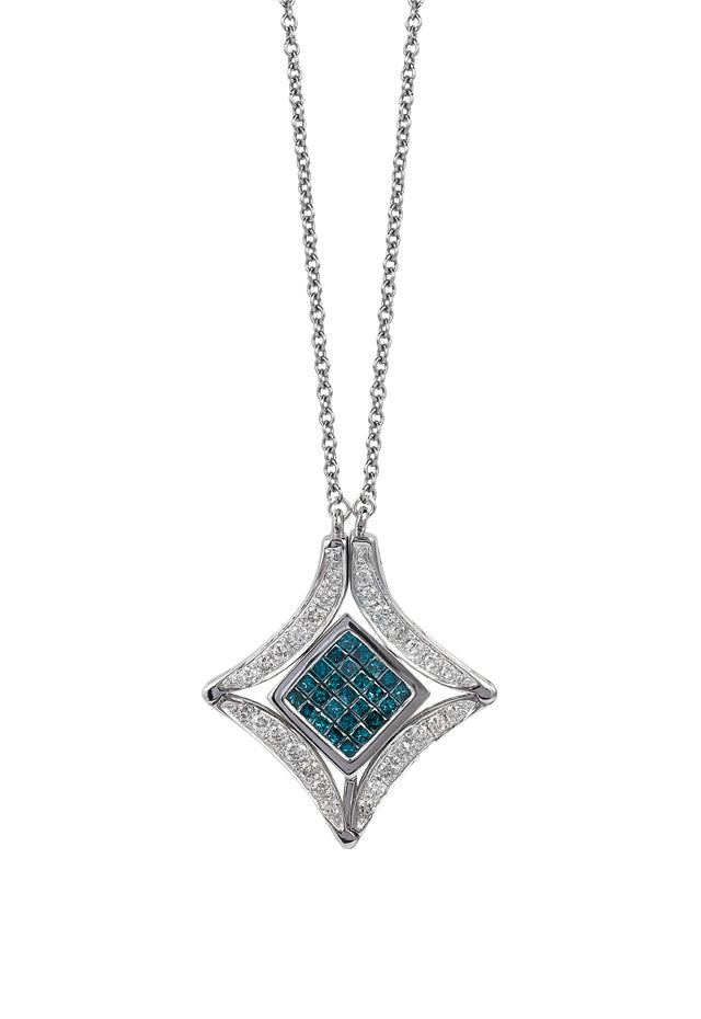 2eabb2d83 Diversa 14K White Gold Blue and White Diamond Pendant | effyjewelry.com