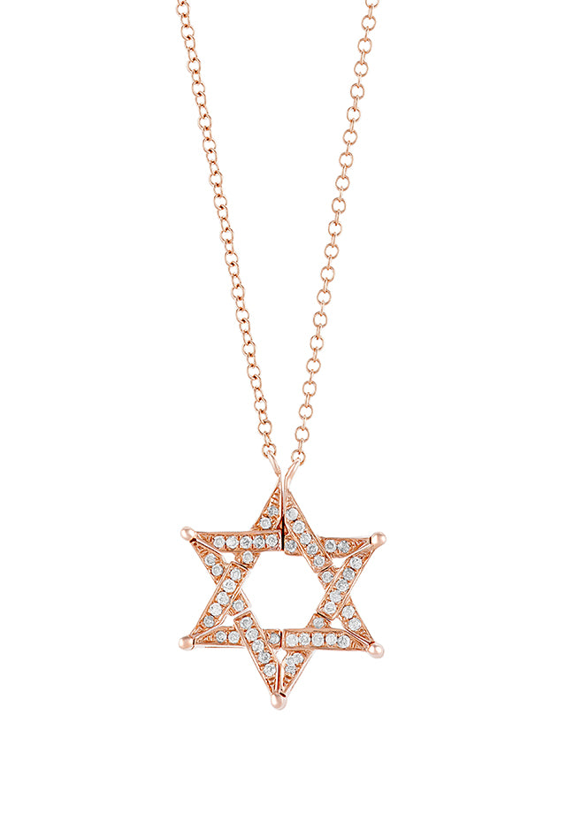 Effy Diversa 14K Rose Gold Diamond Star of David 2-Way Necklace, 0.26 TCW
