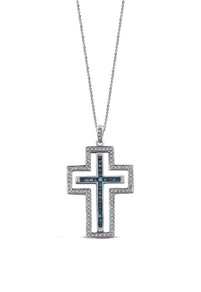 Effy Diversa 14K Gold Black, Blue & White Diamond Cross Pendant, 1.08 TCW