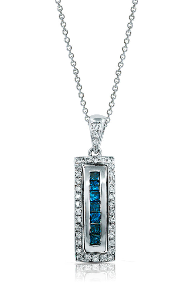 Diversa 14K White Gold Blue and White Diamond Pendant