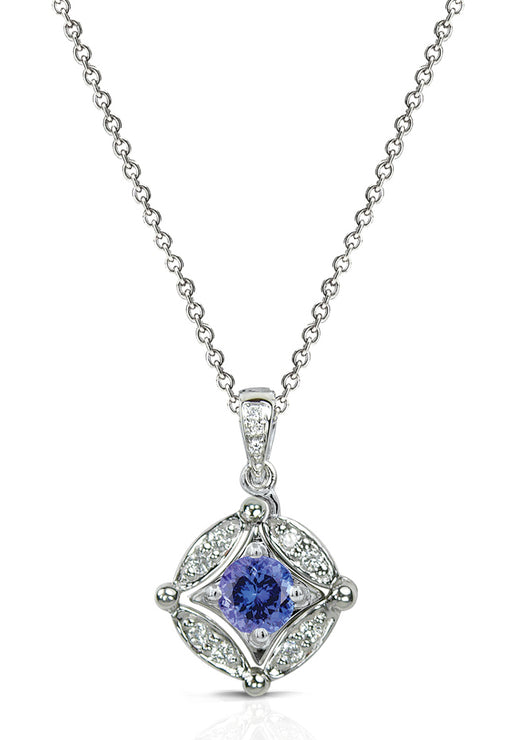 Diversa Sterling Silver Tanzanite and Diamond Pendant, 0.49 TCW