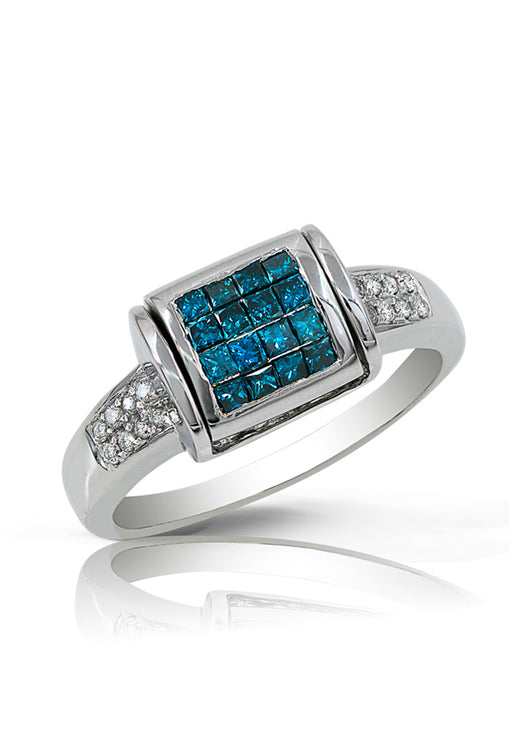 Diversa 14K White Gold Blue and White Diamond Ring