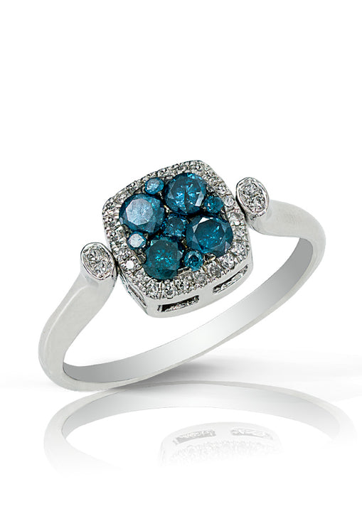 Diversa S. Silver Blue and White Diamond Square Ring