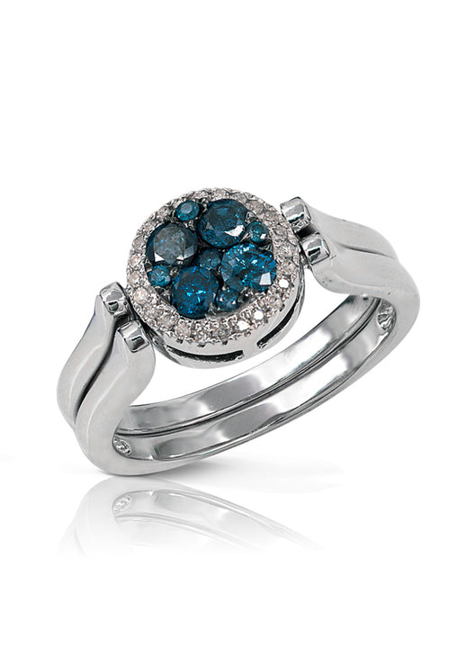 Diversa S. Silver Blue and White Diamond Round Ring