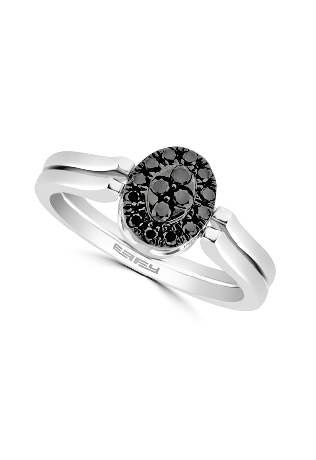 Effy Diversa 14K White Gold Black and White Diamond 2-Way Ring, 0.37 TCW