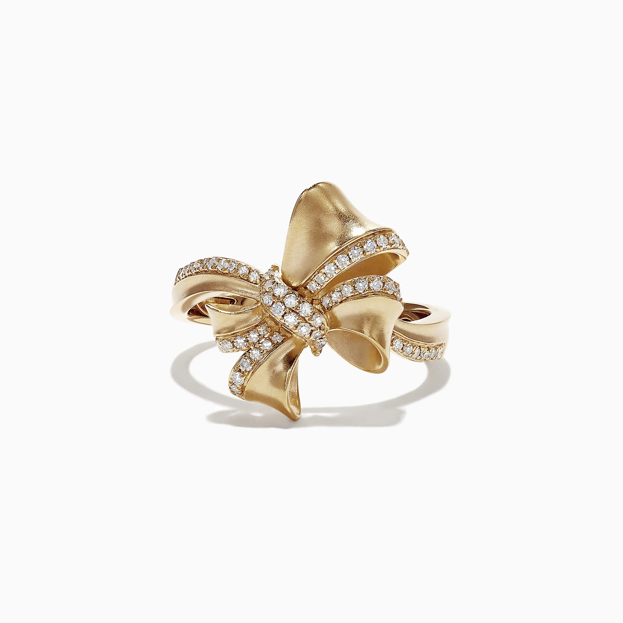 Effy D'Oro 14K Yellow Gold Diamond Bow Ring, 0.23 TCW