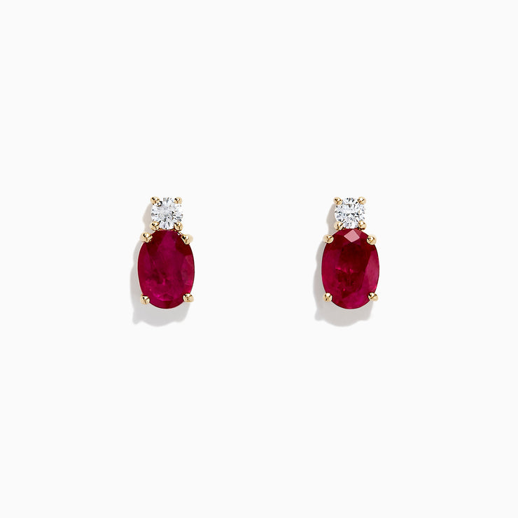 Effy Ruby Royale 14K Yellow Gold Ruby and Diamond Earrings, 2.06 TCW