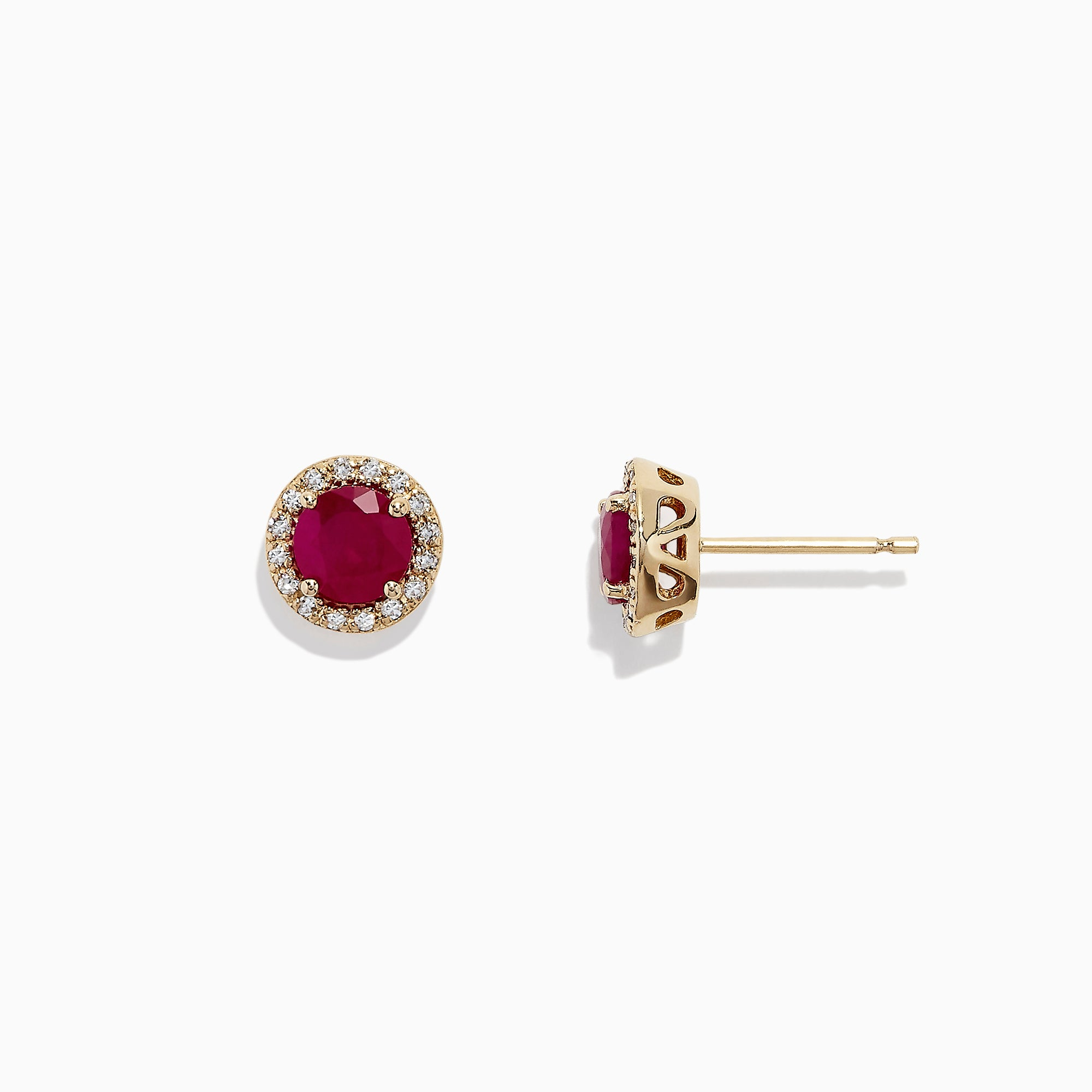 Effy Ruby Royale 14K Yellow Gold Ruby and Diamond Stud Earrings, 1.27 TCW