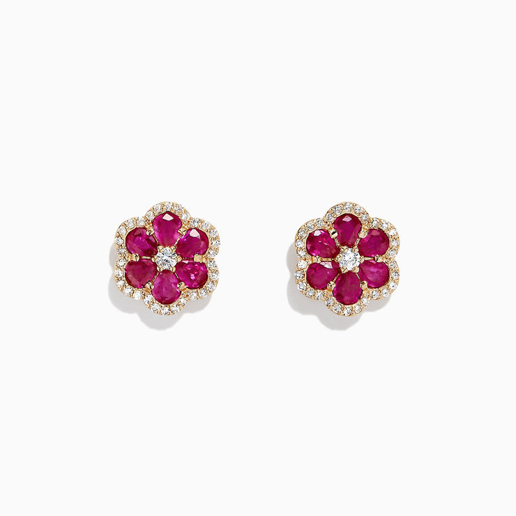 Effy Ruby Royale 14K Yellow Gold Ruby and Diamond Flower Earrings, 3.18 TCW