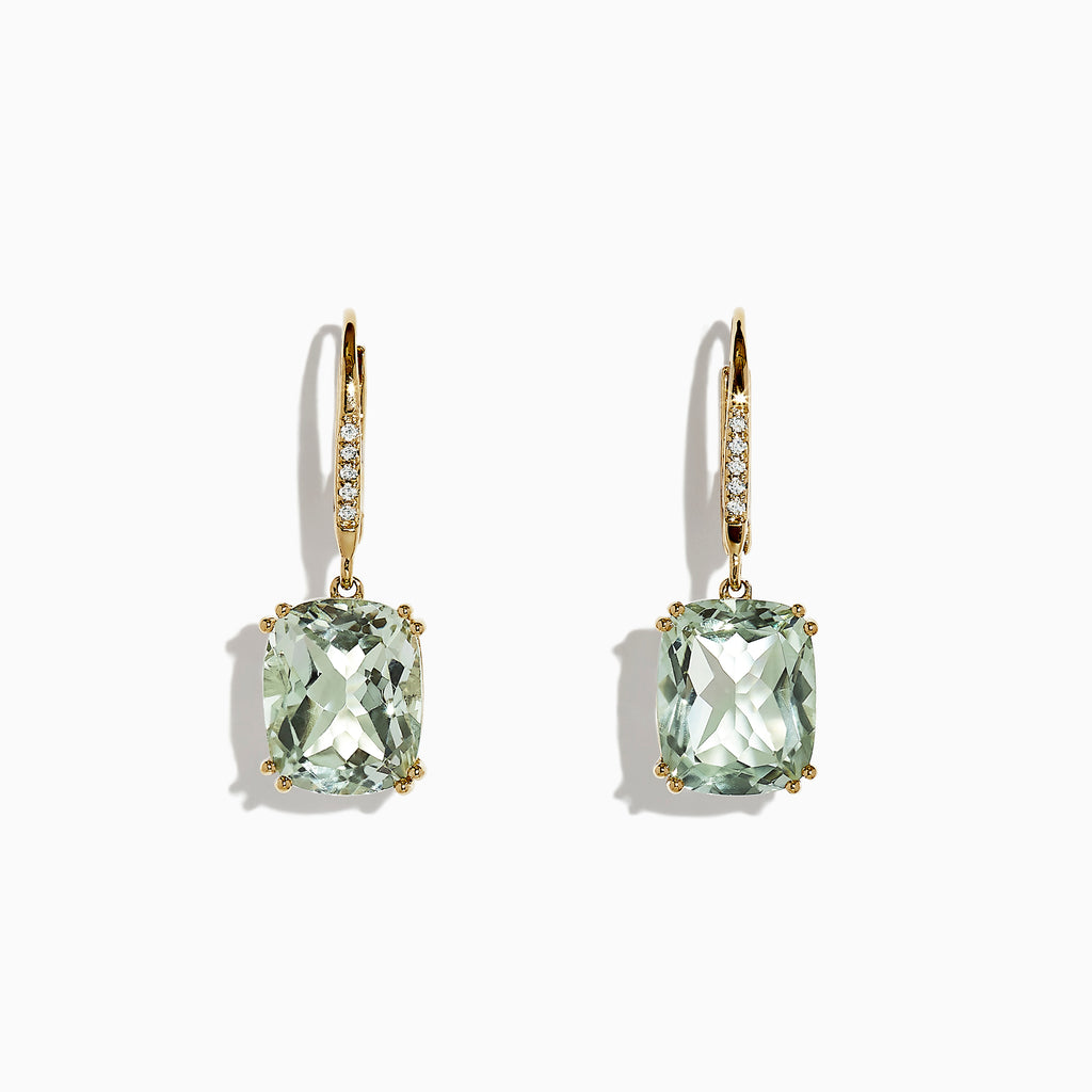 Effy 14K Yellow Gold Green Amethyst and Diamond Earrings, 8.34 TCW