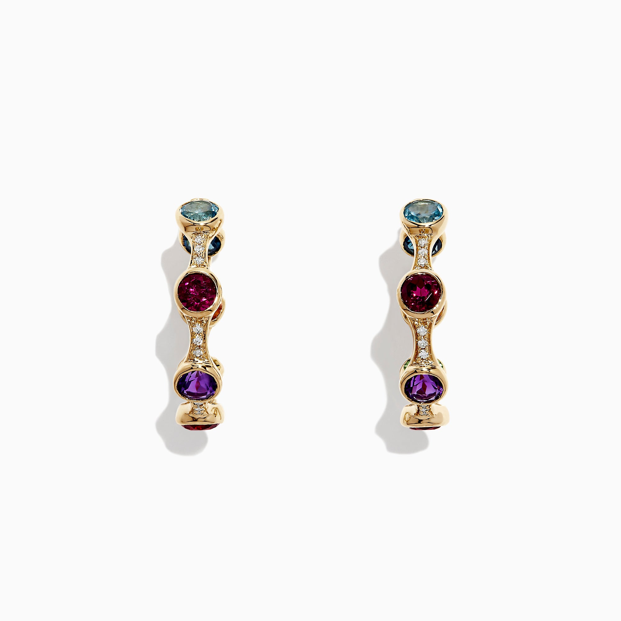 Effy Mosaic 14K Yellow Gold Multi Gemstone and Diamond Earrings, 4.69 TCW